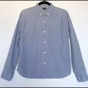 Uniqlo Checkered Button Down Long Sleeve Blouse